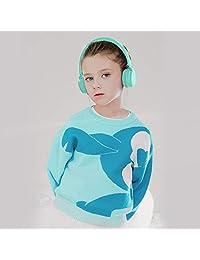 Auriculares estéreo de diadema Ailihen I35 ligeros, plegables, ajustables, con micrófono de 0.13 pulgadas para teléfonos celulares, computadoras portátiles, MP3 4, Azul claro