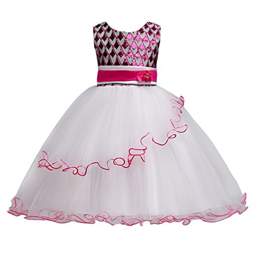 IWEMEK Little Girls' Sequin Flower Ball Gown Party Dress Wedding Birthday Party Pageant Fluffy Tulle Prom Short Evening Gowns
