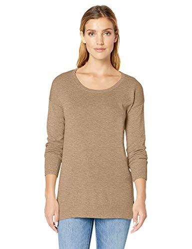 Amazon Essentials Women's Lightweight Scoopneck Tunic Sweater, Camel Heather, Medium