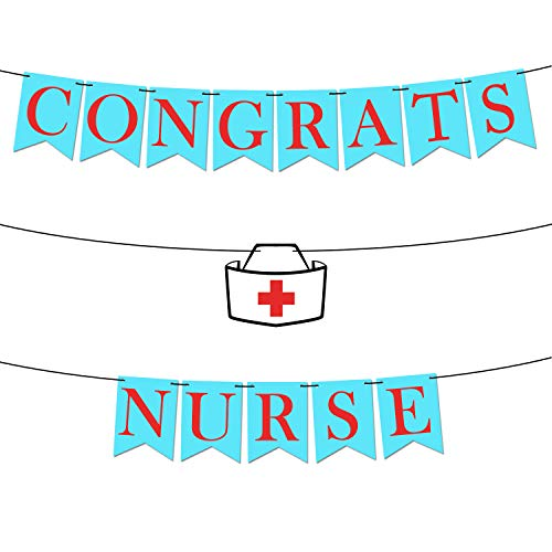 Congrats Nurse Banner, Nurse Decorations - Assembled - Nurse Party Decorations | Nurse Graduation Party Supplies 2019 |Blue and Red Gradution Decorations, Medical Nurses Nursing Party, Felt Banner -