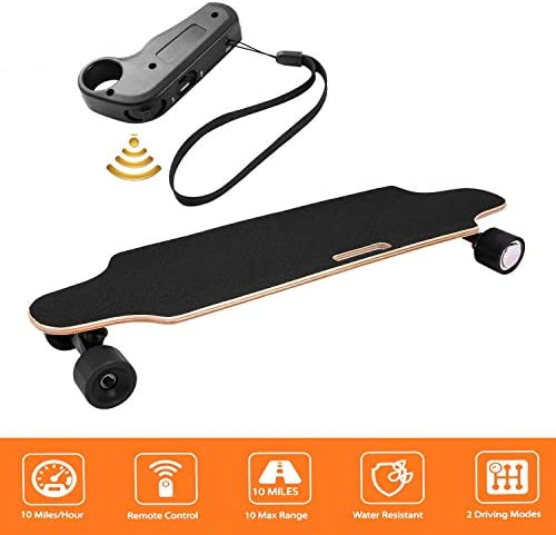 shaofu Electric Skateboard Youth Electric Longboard with Wireless Remote Control, 12 MPH Top Speed, 10 Miles Range, 7 Layers Maple Longboard US Stock