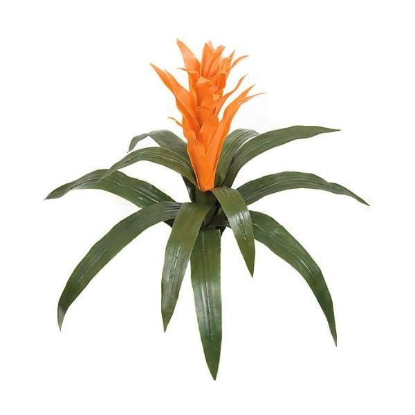 SilksAreForever 22″ UV-Proof Outdoor Artificial Bromeliad Plant Flower Bush -Orange (Pack of 2)