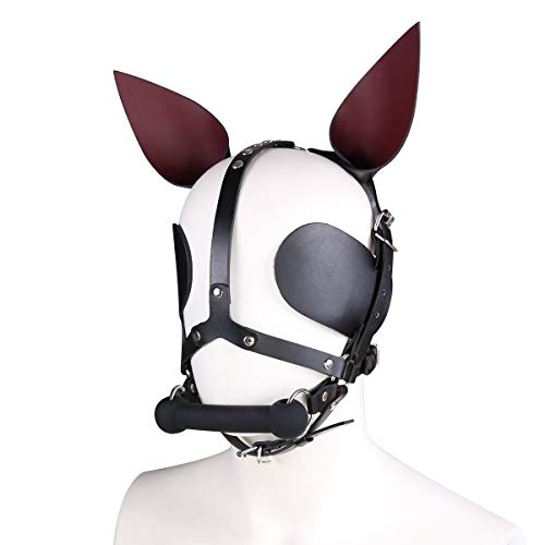 Duzzy Rabbit Leather Mask Unisex Headgear Mouth Gag And Pointy Ears Cosplay Costume -