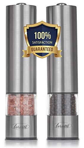 Premium Electric Salt and Pepper Grinder Set - Battery Operated Stainless Steel Grinders Pack of 2 - Automatic Mills with LED Light and Caps at Bottom - Electronic Adjustable Shakers