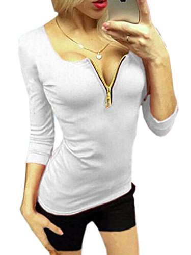 Woo2u Women V Neck Sexy Slim Solid Cotton 3/4 Sleeve Shirt White S