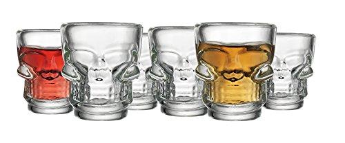 Set of 6 Skull HALLOWEEN SKULLShot Clear Glasses for Drinking Whiskey Liquor Party 2 (Halloween Liquor Shots)