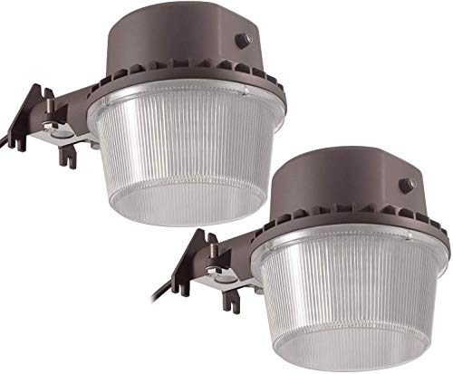 TORCHSTAR Dusk-to-Dawn LED Outdoor Barn Light (Photocell Included), 35W (250W Equiv.), 5000K Daylight Floodlight, DLC & ETL-Listed Yard Light for Area Lighting, Bronze, Pack of 2 (Barn Lighting Fixtures Outdoor)