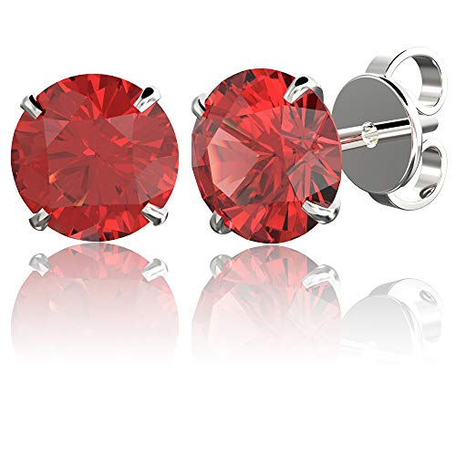 .925 Sterling Silver Hypoallergenic Garnet Cubic Zirconia Round Brilliant-Cut Stud Earrings, 4mm (Best Prime Day Deals)