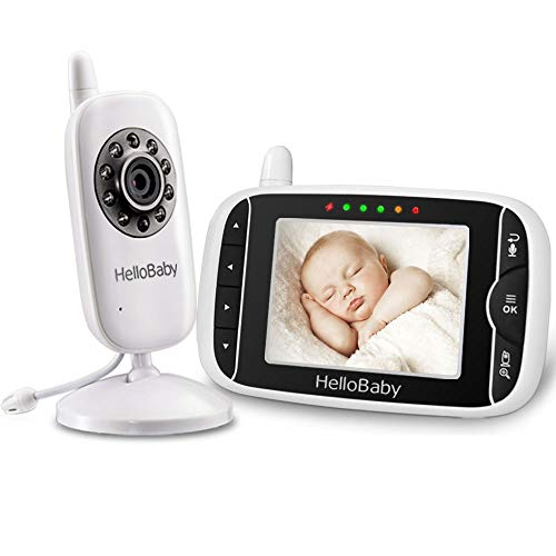 "Cheap HelloBaby Video Baby Monitor 3.2"" LCD Display Screen with Camera, Infrared Night Vision, Two Way Talk, VOX Mode, Built-in Lullabies, Long Range and Temperature Monitoring"