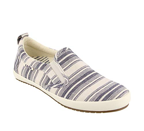 Taos Footwear Women's Dandy Blue Stripe Slip On 6.5 M US