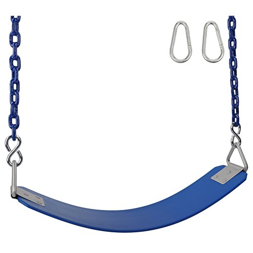 Swing Set Stuff Inc. Swing Set Stuff Commercial Rubber Belt Seat 8.5 Ft. Coated Chain and Sss Logo Sticker, Blue -