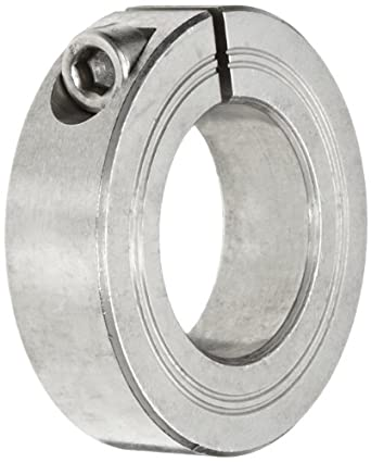 """Climax Metal M1C-22-S Shaft Collar, One Piece, Stainless Steel, Metric, 22mm Bore, 1-3/4"""" OD, 15mm Width, With M6 x 16 Clamp Screw"""