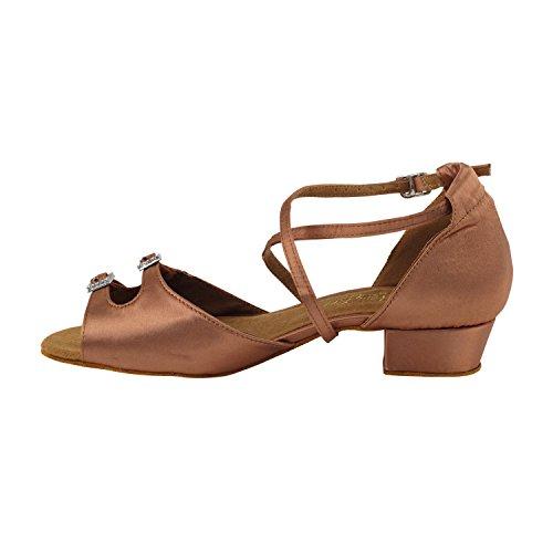 Zapatos De Paloma De Oro De 50 Tonos De 1 Zapatos De Vestir De Baile Tacón Bajo: Las Mujeres La Comodidad Del Salón De Baile, Latino, Tango, Salsa, Swing, Práctica, Teatro De Arte Por Parte Del Partido 1620 De Satén De Color Canela