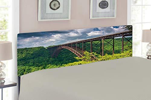 Lunarable USA Headboard for Queen Size Bed, The River Gorge Bridge, Seen from The Canyon Rim Visitor Center Overlook, Upholstered Decorative Metal Headboard with Memory Foam, Forest Green ()