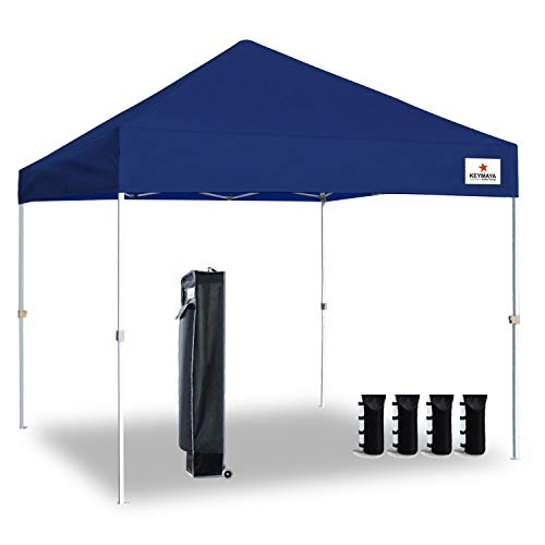 Keymaya 10'x10' Ez Pop Up Canopy Tent Commercial Instant Shelter Canopies Bonus Heavy Duty Weight Bag 4-pc Pack (10x10, A# Navy Blue)