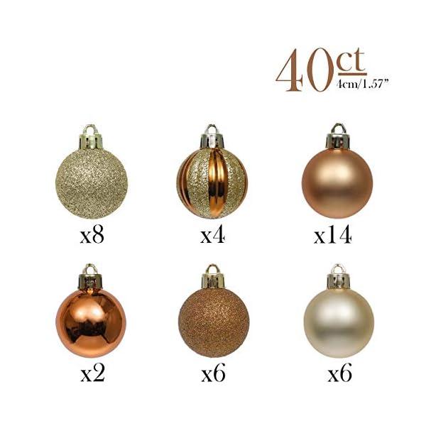 Valery Madelyn Palle di Natale 40 Pezzi 4 cm Palline di Natale, Legno Essenziale Rame e Oro, Base Infrangibile Ornamenti Palla di Natale Decorazione per Albero di Natale 3 spesavip