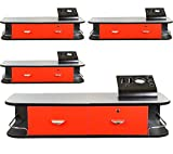 4x LCL Beauty Red Locking Wall Mount Styling Station with Stainless Steel Top, Black Metal Tabletop Appliance Holder & 4 Port Power Strip