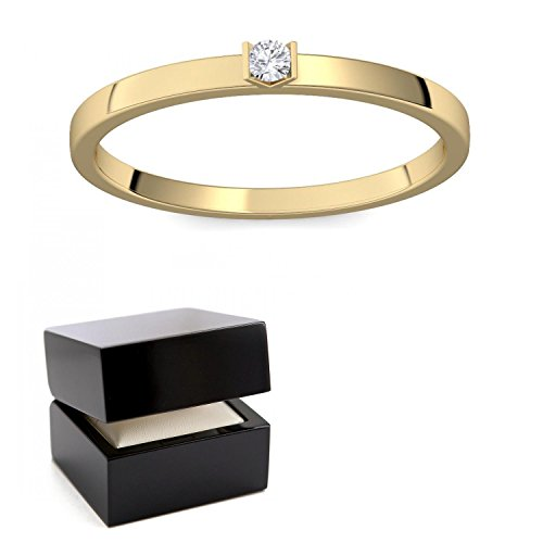 Verlobungsring Gold 585 Diamant 0,04 Carat H/si **sehr gute Qualität** +inkl. Luxusetui+ Diamantring solitär schmal dünn Goldring Diamant 585 Diamant Ring Gold Diamantring Gelbgold FF51GG585BRFA52