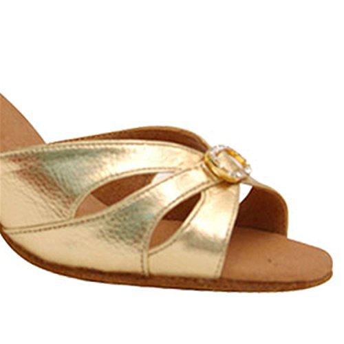 Dance Peep Shoes Women's Salsa Toe Dance W924 Chunky Ballroom Latin Shoesland Tango Gold Heel nP7Sp4wx