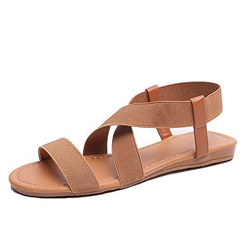 d'été plates dames bande chaussures marron large élastique Zoerea Sandales pour bout ouvert cheville femmes croisées été 476F5Bxqw
