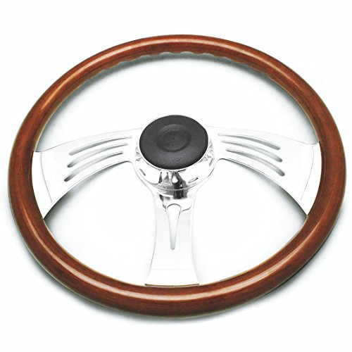 Woody's WP-SWF8901.3W Rosewood Chrome Truck Steering Wheel (Beautiful African Hardwood) (Woody Button)