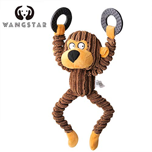wangstar Pet Mallard Duck Dog Toy, Squeaky Dog Toy, Plush Puppy Dog Chew Toy for Small Medium Dogs (10'' Squeaky Monkey) ()
