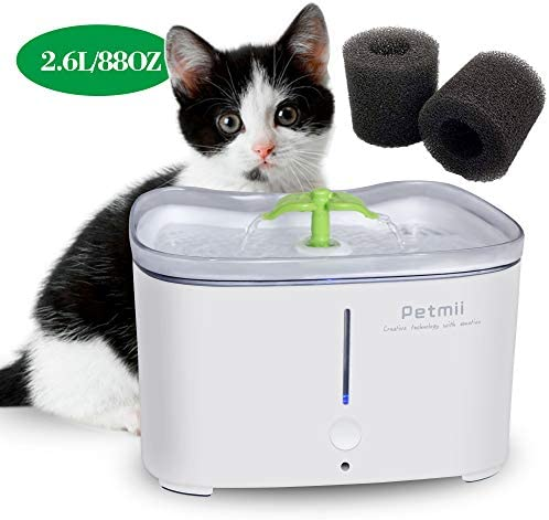 Petmii Pet Fountain, 88oz 2.6L Automatic Cat Water Fountain Dog Water Dispenser with 2 Replacement Filters for Cats, Dogs, Birds and Small Animals