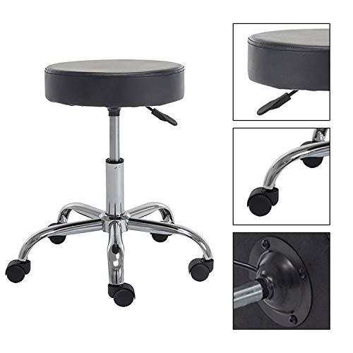 heyesk Round Seat Adjustable Rolling Stool with Wheels and Metal Plated Frame, ()
