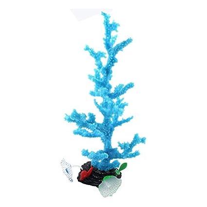 Acuario de silicona DealMux Fish Tank Artificia Coral Aquascaping fluorescente Árbol azul de la planta