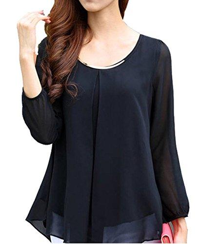 eshion Women Long Sleeve Chiffon Solid Color Pleated Shirt Blouse