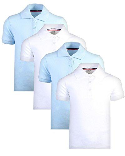 French Toast Girl\\\'s Uniform Polo Short Sleeve Interlock (4 Pack), White/Light Blue, Medium - 7/8\'' (Uniforms School Girls Shirts)