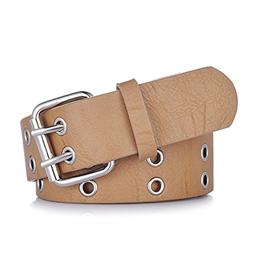 Availcx NEW Gold 2 row eyelet fashion belts for women Nude Silver dLE5GM13j