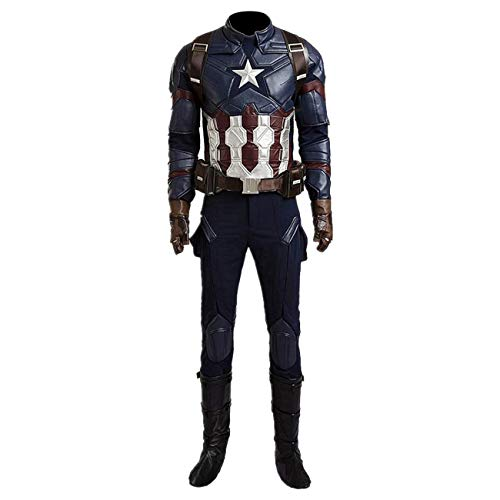 Captain America Boots (Superhero Captain Soldier Costume Deluxe Halloween Cosplay Full Set PU Suit XL)