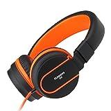 Ailihen I35 Stereo Lightweight Foldable Headphones Adjustable Headband Headsets with Microphone 3.5mm for Cellphones Smartphones Iphone Laptop Computer Mp3/4 Earphones (Black/Orange) by Ailihen