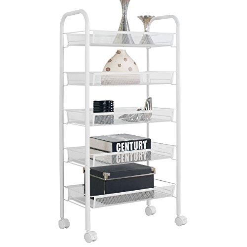 5-Shelf D10.2' W17.5' H40.6' White Steel Cart Storage Rack Basket Shelving Unit Trolley Cabinet Kitchen Island with Caster Wheels WJM46104-5WH