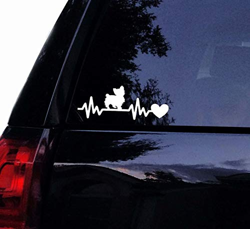 CELYCASY Yorkie Heartbeat Lifeline Decal - Yorkshire Terrier Dog Vinyl Car Decal Laptop Decal Window Wall Sticker