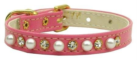 Mirage Pet Products 3/8-Inch Pearl and Clear Crystals Pet Collar, Size 12, Pink