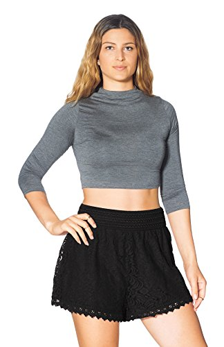 Women's Elastic Waist Lined Crochet Lace Scallop Hem Casual Mini Shorts (Black Lace Shorts)