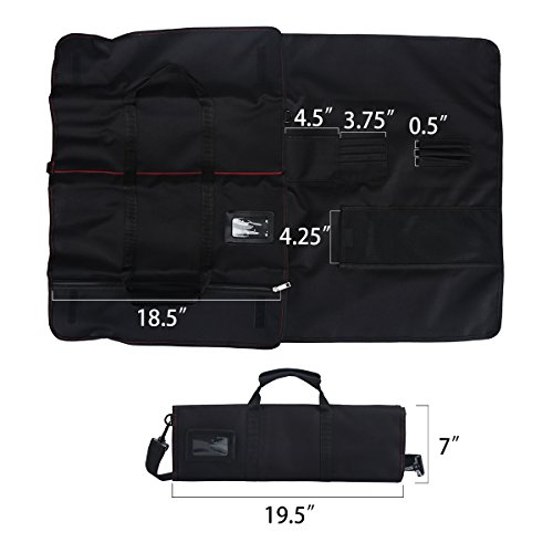 Tosnail Chef Knife Case Roll Bag with 21 Slots & 1 Large Zipper Pocket, Easy Carry Handle and Shoulder Strap - Black by Tosnail (Image #3)