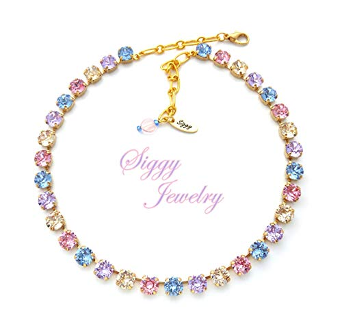 (Swarovski® Crystal Necklace, 8mm Blue, Purple, Pink, Spring Bling, Assorted Finishes, Matching Bracelet, Pastels, Wedding, Gift Packaged)