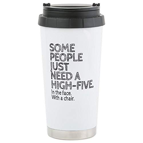CafePress Some People Just Need A High-Five. In The Face. Wi Stainless Steel Travel Mug, Insulated 16 oz. Coffee Tumbler ()