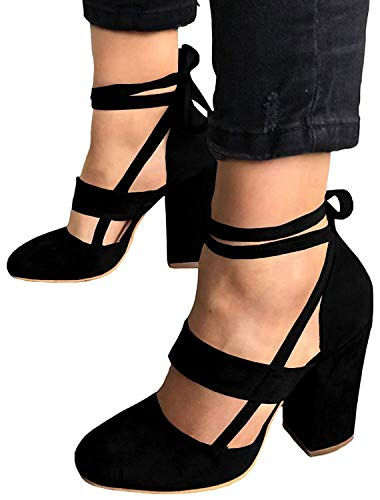 MayBest Womens Chunky Ankle Strappy Sandals Lace Up High Heels Party Simple Classic Pumps Black 10 B (M) US