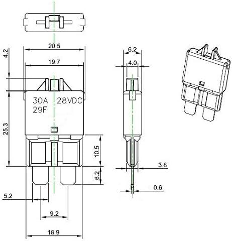 Manual-Reset 10pcs PHOTO-TOP 30A Automotive ATC//ATO Circuit Breakers T3