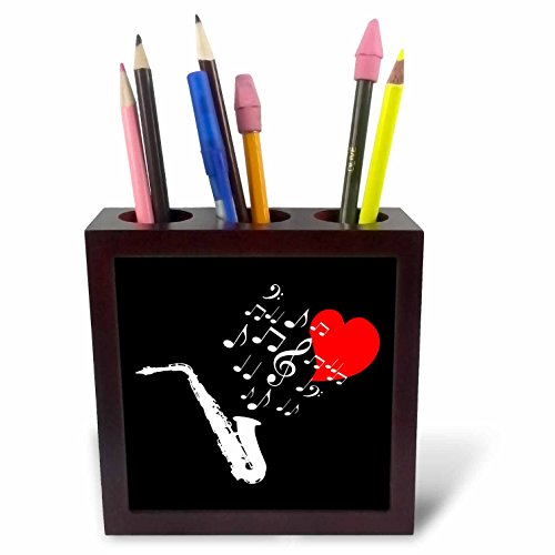 3dRose Alexis Design - Music - I love saxophone music red heart and notes on black background - 5 inch tile pen holder (Love Saxophone)