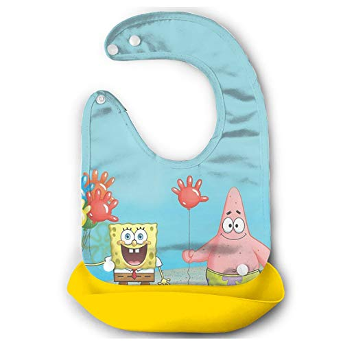 JINUNNU Baby Bib Spongebob and His Friends Waterproof Feeding Bibs for Babies and Toddlers with Food Catcher Pocket Yellow ()