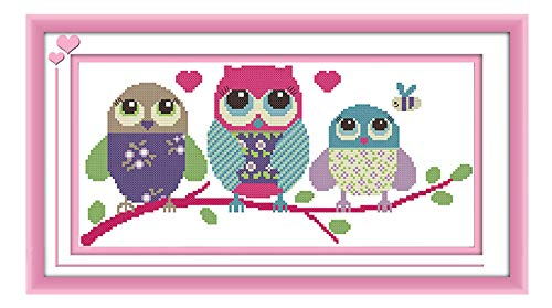 eGoodn Stamped Cross Stitch Kits with Printed Pattern - Cartoon Owl, 18.9