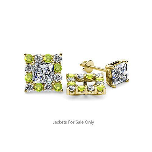 Peridot and Diamond (SI2-I1,G-H) Halo Jacket for Princess Cut Stud Earrings 0.80 ct tw in 14K Yellow Gold
