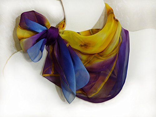 Hand Painted Square Silk Scarf Women's Purple Yellow Chiffon Shawl by Pure Elegance