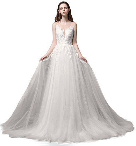 Ruolai Romantic Lace Long Wedding Dress Layered Bridal Gowns Ivory