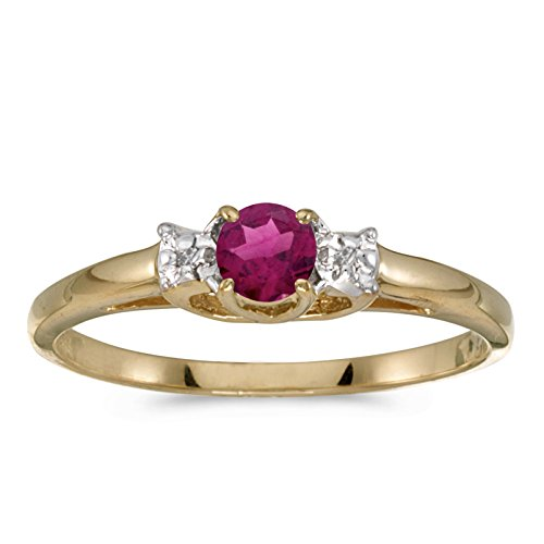 Jewels By Lux 14k Yellow Gold Round Rhodolite Garnet And Diamond Ring Size 7 ()